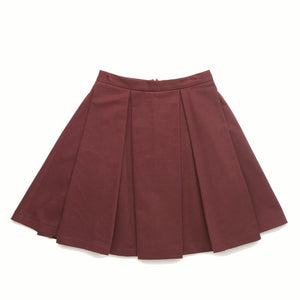 Burgundy Big Pleated Skirt