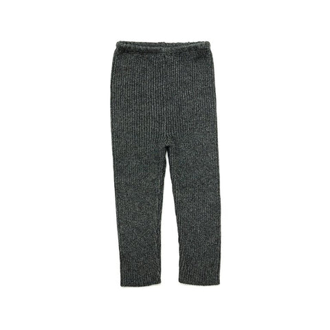 Grey Knit Ribbed Pant