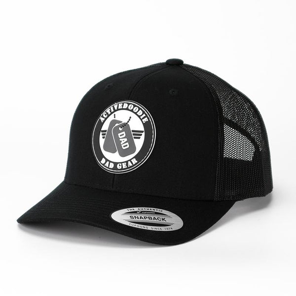Curved Bill Trucker Hat for Dad - Black - Dad Hats - Active Doodie Dad Gear