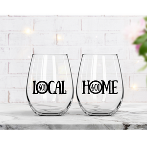 LOCAL and HOME wine glasses