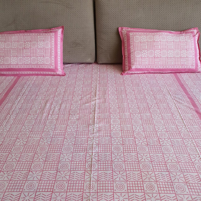 Pink & White Pure Cotton Handloom Block Printed Bedsheet with 2 Pillow Covers