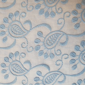 Paisley Design in Multiple Colors - 2x2 Embroidered Rubia Cotton Fabric