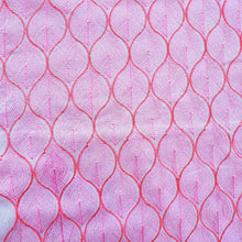 Load image into Gallery viewer, Geometric Design in Pink (White Base) - 2x2 Embroidered Rubia Cotton Fabric