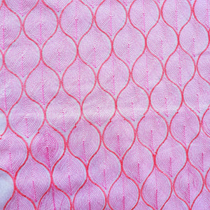 Geometric Design in Pink (White Base) - 2x2 Embroidered Rubia Cotton Fabric