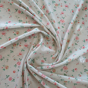 Floral Print Giza Cotton Fabric - Off White Base