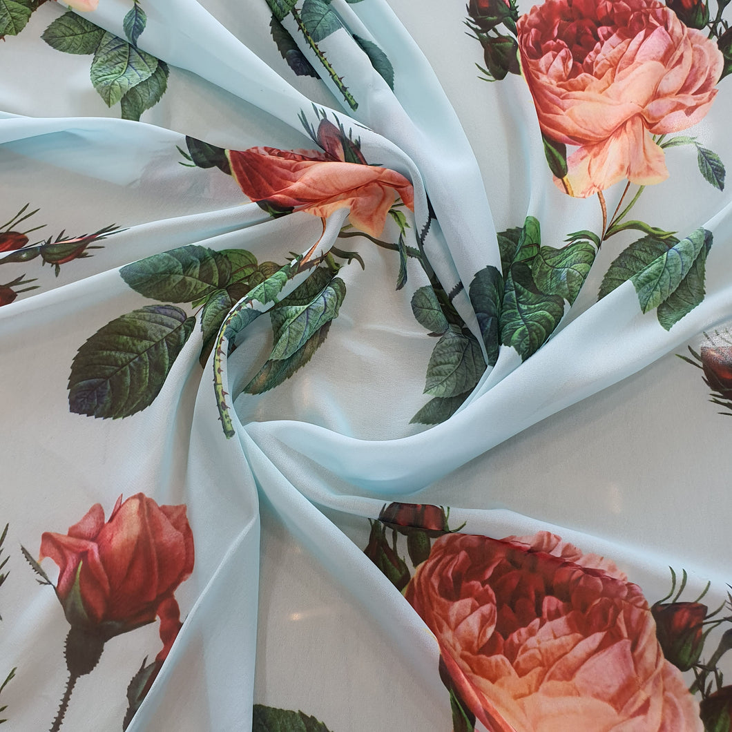 Large Floral Digital Print on Georgette Fabric - White Base