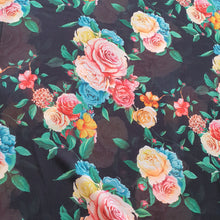 Load image into Gallery viewer, Large Floral Digital Print on Georgette Fabric - Black Base