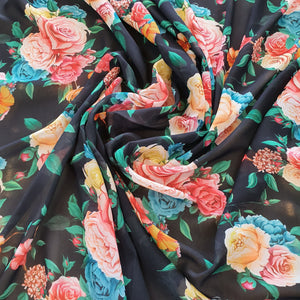 Large Floral Digital Print on Georgette Fabric - Black Base