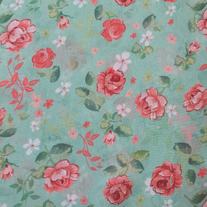 Floral (Small) Digital Print on Georgette Fabric - Sky Blue Base