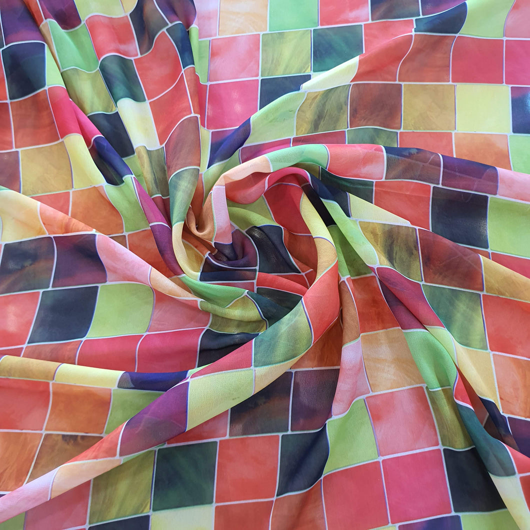 Digital Colored Check Print on Georgette Fabric