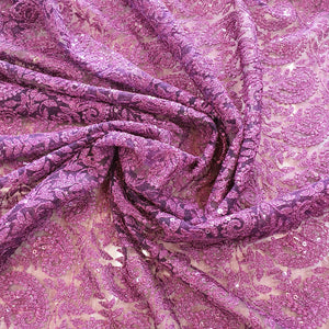 Paisley Pattern on Embroidered Net Fabric