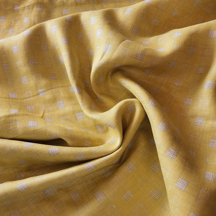 Check Print on Linen Fabric - Mustard Color