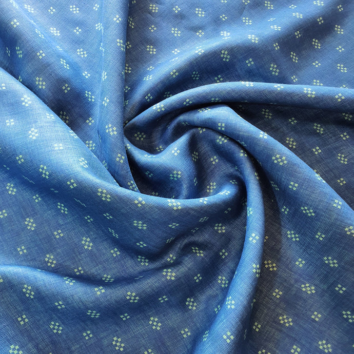 Geometric on Linen Fabric - Blue Color