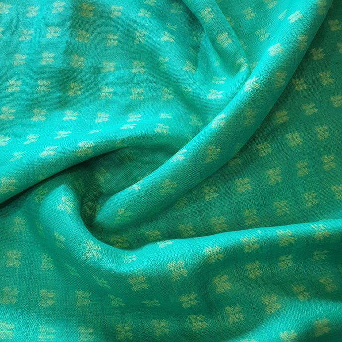 Geometric Pattern on Linen Fabric - Teal Color