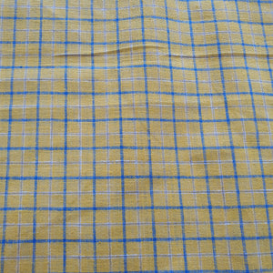 Blue Large Check Print on Linen Fabric - Mustard Color