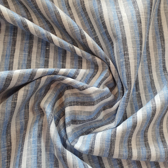 Blue, Black & White Linear Pattern on Linen Fabric