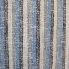Load image into Gallery viewer, Blue, Black & White Linear Pattern on Linen Fabric