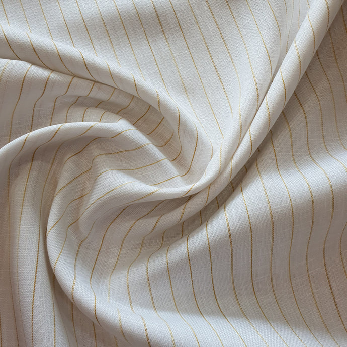 Golden Linear Patter on Linen Fabric - White Base