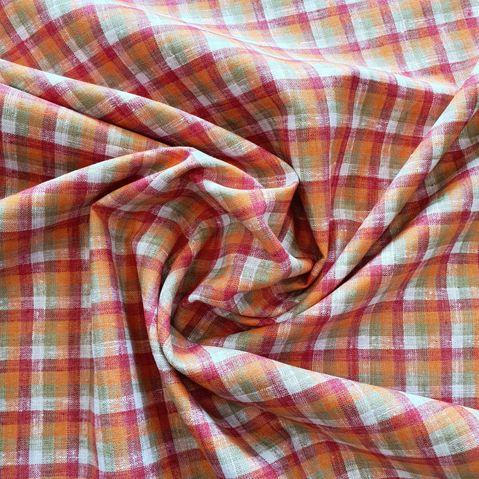 Purple, Orange, White & Green Check Print on Linen Fabric