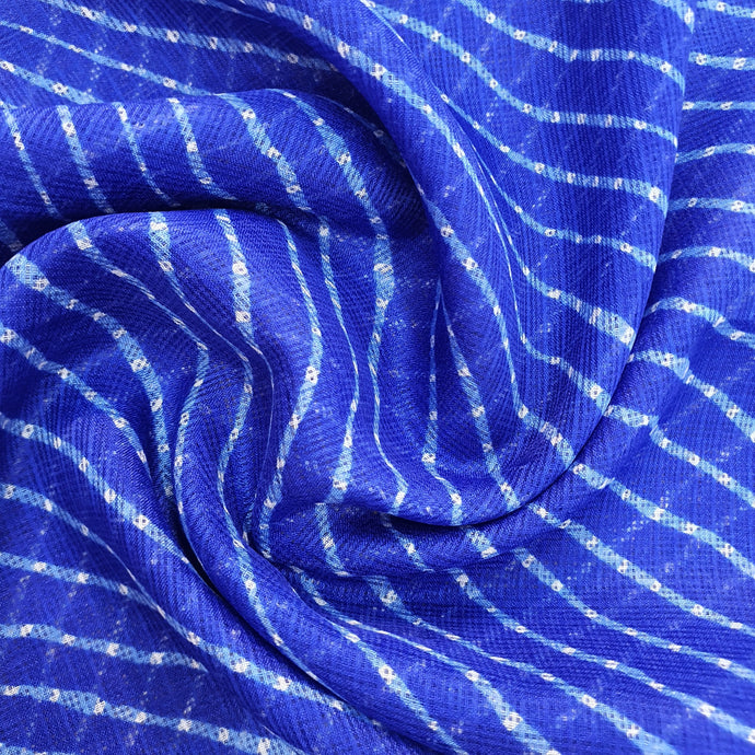 Traditional Bandhani Print on Kota Lehariya Fabric - Blue & White