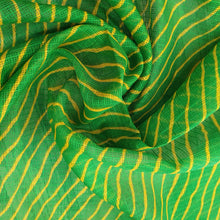 Load image into Gallery viewer, Traditional Bandhani Print on Kota Lehariya Fabric - Green & Yellow