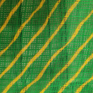 Traditional Bandhani Print on Kota Lehariya Fabric - Green & Yellow