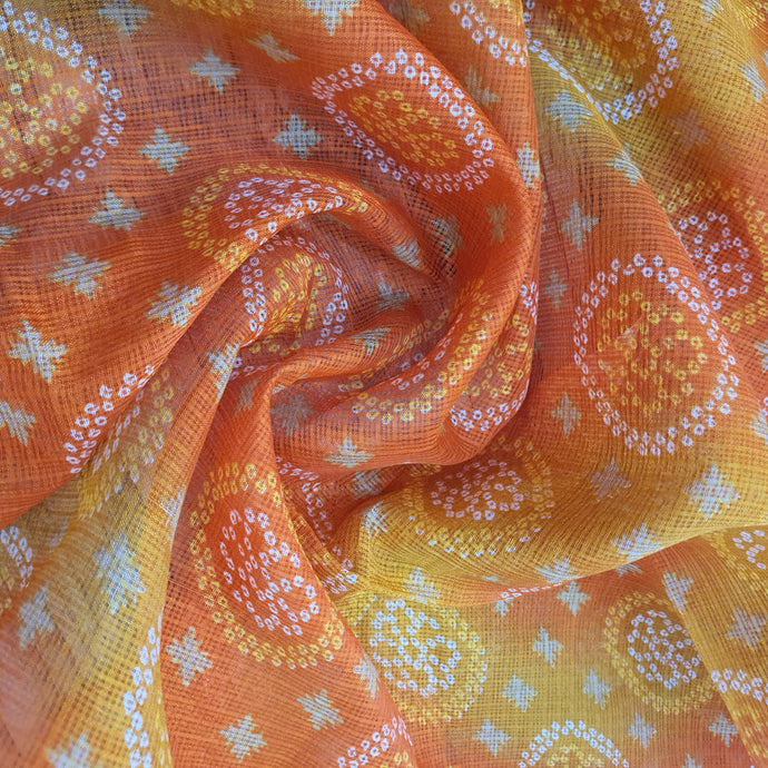 Traditional Bandhani Print on Kota Lehariya Fabric - Orange & Yellow