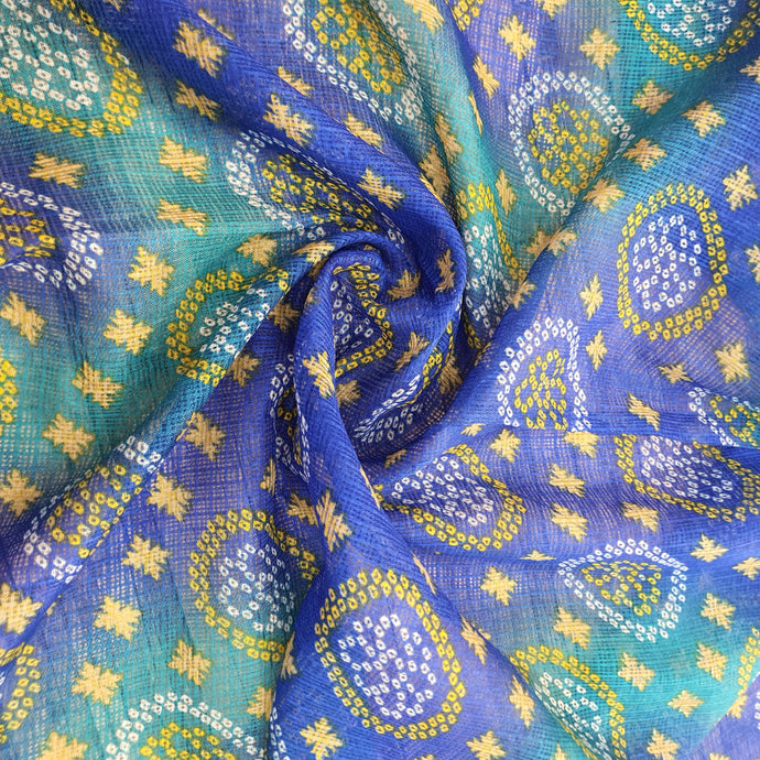 Traditional Bandhani Print on Kota Lehariya Fabric - Blue & Green