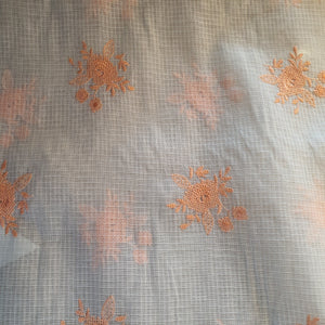 Floral Embroidered Kota Doriya Fabric - Multiple Color Options