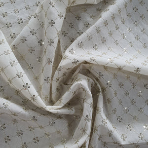 Water Gold Zari & Sequence Work on Kora Cotton