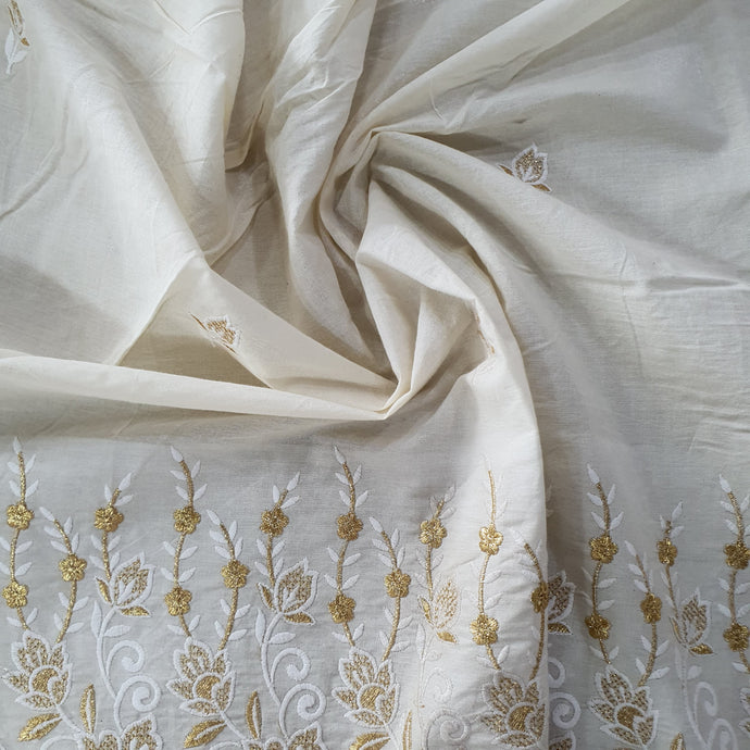 Zari and Thread Work on Kora Cotton