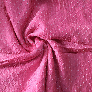 Handcrafted Bandhanki on Chanderi Fabric - Pink