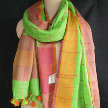 Load image into Gallery viewer, Pure Linen Dupatta Checkered Digital Print - Green & Rust