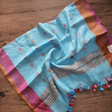 Load image into Gallery viewer, Pure Linen Dupatta Geometric Print - Blue & Pink