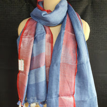 Load image into Gallery viewer, Pure Linen Dupatta - Blue & Rust