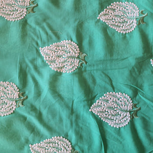 Leaf Embroidery on Cotton 2x2 Rubia Fabric - Green