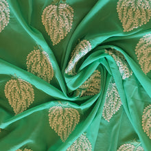 Load image into Gallery viewer, Leaf Embroidery on Cotton 2x2 Rubia Fabric - Green