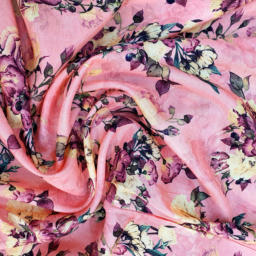 Floral Print on Cotton Muslin Fabric - Pink Base