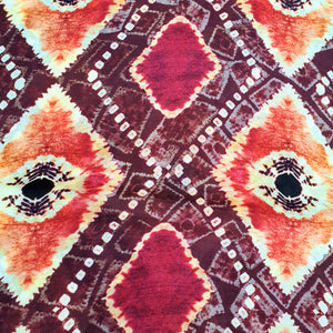 Pattern on Cotton Muslin Fabric - Maroon