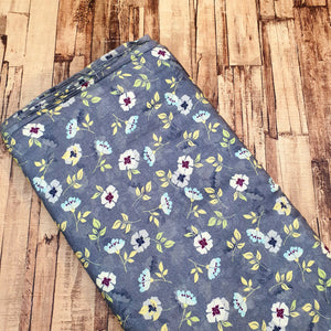 Floral Print on Cotton Muslin Fabric - Gray Base