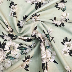 Floral Print on Cotton Muslin Fabric - Light Pista Green Base