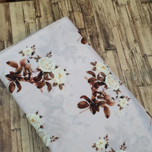 Load image into Gallery viewer, Floral Print on Cotton Muslin Fabric - Shiny Cream Base