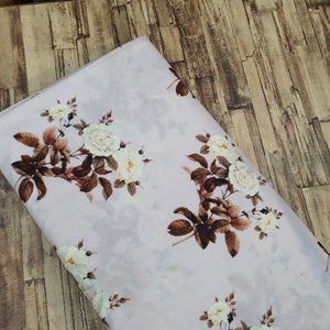 Floral Print on Cotton Muslin Fabric - Shiny Cream Base