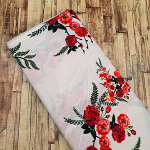 Red Floral Print on Cotton Muslin Fabric - Light Cream Base