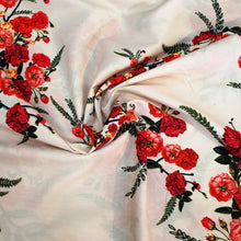 Load image into Gallery viewer, Red Floral Print on Cotton Muslin Fabric - Light Cream Base
