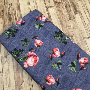 Pink Floral Print on Cotton Muslin Fabric - Gray Texture Base