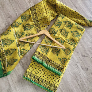 Maheshwari Silk Suit with Chanderi Dupatta- Mustard & Green