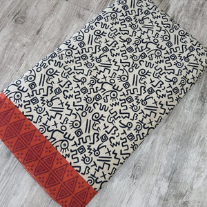 Off White Cotton Abstract  Handblock Block Print Fabric