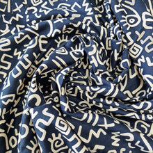 Load image into Gallery viewer, Navy Blue  Cotton Abstract  Handblock Block Print Fabric