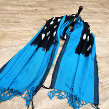 Load image into Gallery viewer, Ikat Dupatta - Blue, Black & White Dupatta (2.5 Metre)